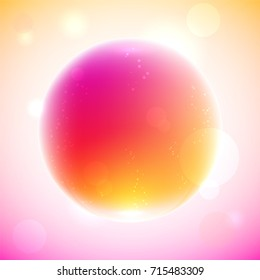 pink and orange magic ball with bubbles inside on light pink background