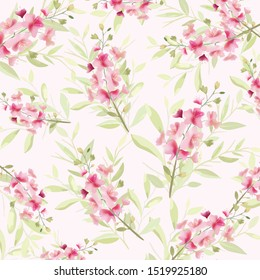 Pink orchid and green leaf pattern,illustration vector doodle comic art.