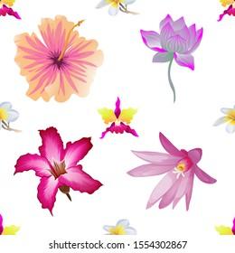 Pink Orchid. White Plumeria. Pink Hibiscus. Purple Lotus. Pink Adenium. Purple Hatiora. Vector illustration. Seamless background pattern. Floral botanical flower. Wild leaf wildflower isolated.