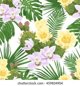 Pink orchids, flowering prickly pear and tropical leaves. Vector seamless pattern on white background.