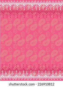 Pink oriental traditional henna paisley and elephant design background wallpaper
