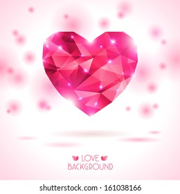 Pink origami heart on white backdrop with shadow. Vector Illustration. Romantic background for Valentines day.
