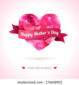 Pink origami heart on white backdrop with ribbon. Vector Illustration. Love symbol. Lights and sparkles. Low-poly colorful style. Happy Mother day.
