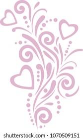 Pink ornamental element with hearts for design. Vector