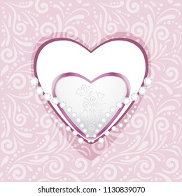 Pink ornamental pattern with hearts and diamonds for scrapbook. Vector
