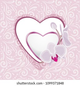 Pink ornamental pattern with hearts and orchids for scrapbook. Vector