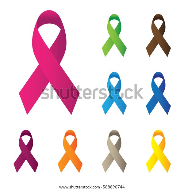 pink and other color ribbons, breast cancer awareness vector icon isolated on white background