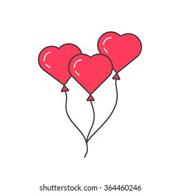 pink outline balloon like heart. concept of baloon, event, joy, present, ballon, romance, up to the sky, leisure. isolated on white background. flat style trend modern logo design vector illustration