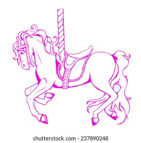 Pink outlined Carousel Merry-Go-Round horse with decorative saddle