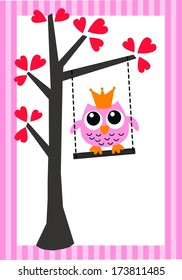 pink owl birthday or baby shower