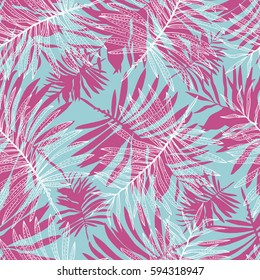 pink palm leaves pattern