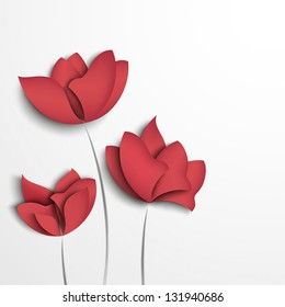Pink paper flowers on white background