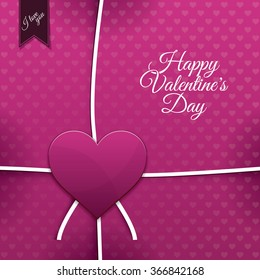 Pink paper heart Valentines day card with sign on heart background