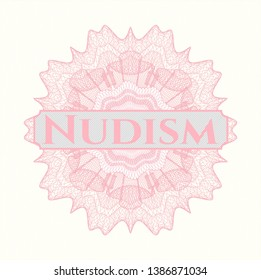 Pink passport money rosette with text Nudism inside