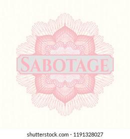 Pink passport money rossete with text Sabotage inside