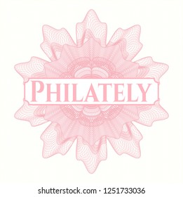 Pink passport money style rosette with text Philately inside
