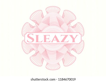 Pink passport money style rossete with text Sleazy inside