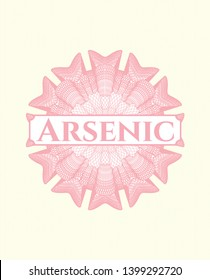 Pink passport rosette with text Arsenic inside