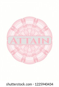 Pink passport rossete with text Attain inside