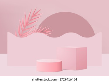 Pink pastel product Podium on background vector. Abstract minimal geometry concept. Studio stand platform theme. Exhibition and business marketing presentation stage. 3D illustration rendering graphic