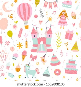Pink pattern for girls with funny toys and kids elements. Vector seamless background with birthday cake, bouncy castle, princess and sweet food