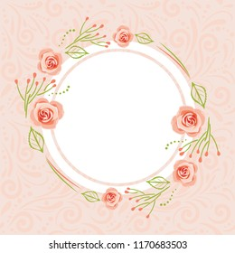 Pink pattern with stylized wreath of roses for greeting card. Vector