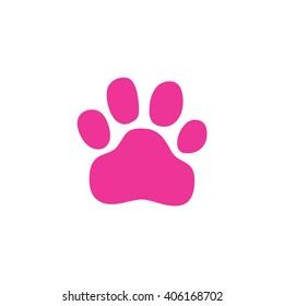 Pink paw print icon vector illustration