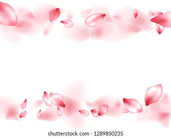 Pink peach flower flying petals isolated on white. Tender beauty salon background. Japanese sakura petals springtime confetti, blossom elements flying. Falling cherry blooming flower parts design.