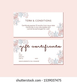 Pink Peach Flower Gift Certificate Cards 2 sided template