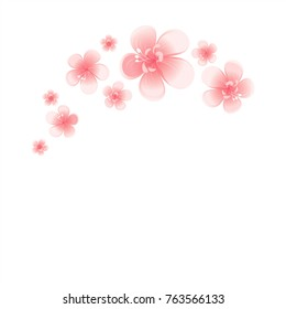 Pink Peach flowers isolated on white background. Apple-tree flowers. Cherry blossom. Vector EPS 10 cmyk