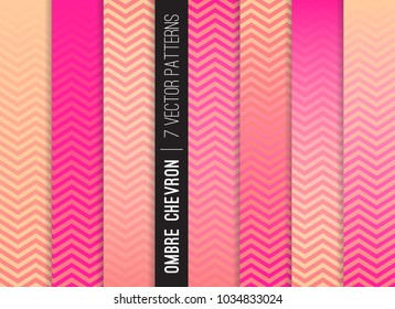 Pink Peach Ombre Chevron Vector Patterns. Gradient Fade Texture. Tropical Sunset Colored Background. Zigzag Stripes Blending into Solid Color. Horizontally Seamless Pattern Tile Swatches Included.