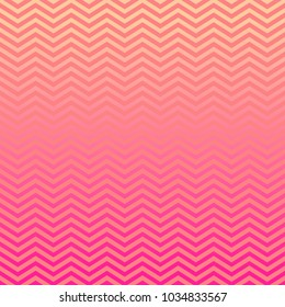 Pink Peach Ombre Chevron Vector Pattern. Gradient Fade Texture. Tropical Sunset Colored Background. Zigzag Stripes Blending into Solid Color. Horizontally Seamless Pattern Tile Swatch Included.