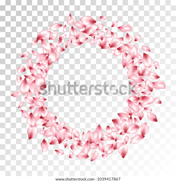 Pink peach petals flying circle frame vector beauty salon background. Spring falling flower parts confetti, blossom elements floral design. Stylish flower blossom petals poster vector background.