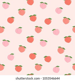 pink peach seamless pattern. fresh fruit background.