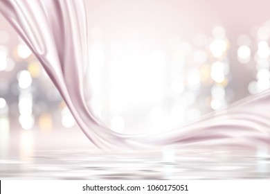 Pink pearl satin, smooth fabric on shimmering bokeh background in 3d illustration