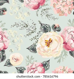Pink peonies with gray leaves on the gray background. Watercolor vector seamless pattern. Romantic garden flowers illustration. Pastel colors.