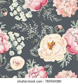 Pink peonies with gray leaves on the black background. Vector seamless pattern. Romantic garden flowers illustration.