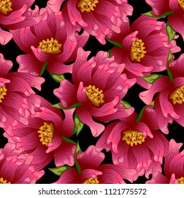 Pink peony flower in a vector style. Seamless background pattern. Fabric wallpaper print texture. Full name of the plant: peony. Vector flower for background, wrapper pattern, frame or border.