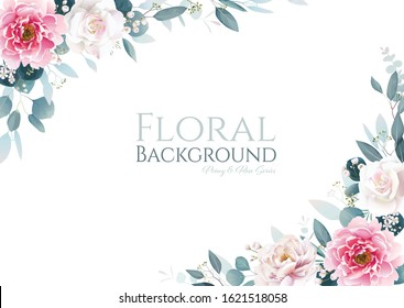 Pink peony flower and white rose with greenery frame border on white background. floral template for wedding invitation or greeting card, banner. All elements are isolated and editable. Vector.