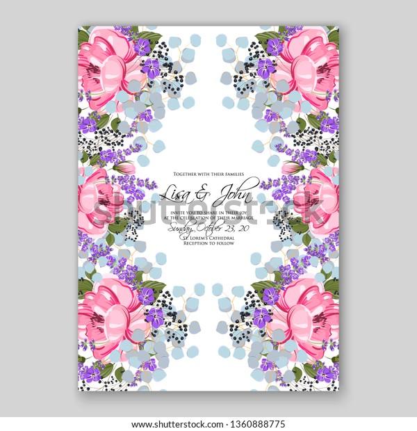 Pink Peony Lavender Wedding Invitation Card Stock Vector