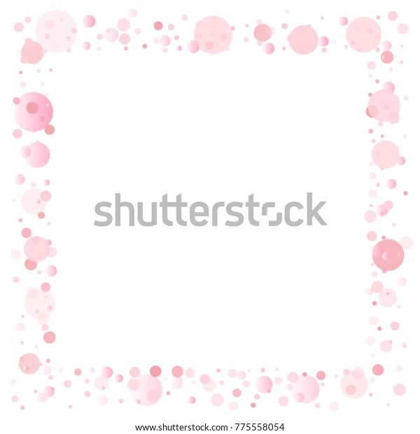 Pink Petals Confetti Frame Border Light Stock Vector