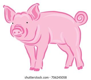 Pink Pig Colored Line Art