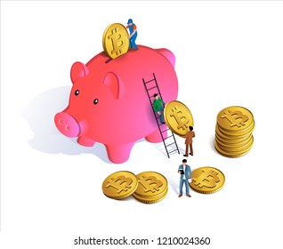 Pink piggy bank with coins falling into slot. Piggy bank with money. The concept of accumulation of bitcoins in the piggy bank. People accumulate bitcoins. Earnings and savings. Isolated on white