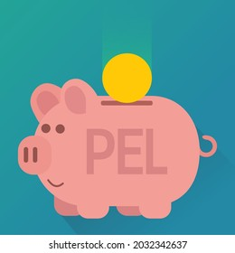 Pink piggy bank with the inscription PEL (symbolizing the popular French financial product of Livret PEL) in which a coin falls on a blue background (flat design)