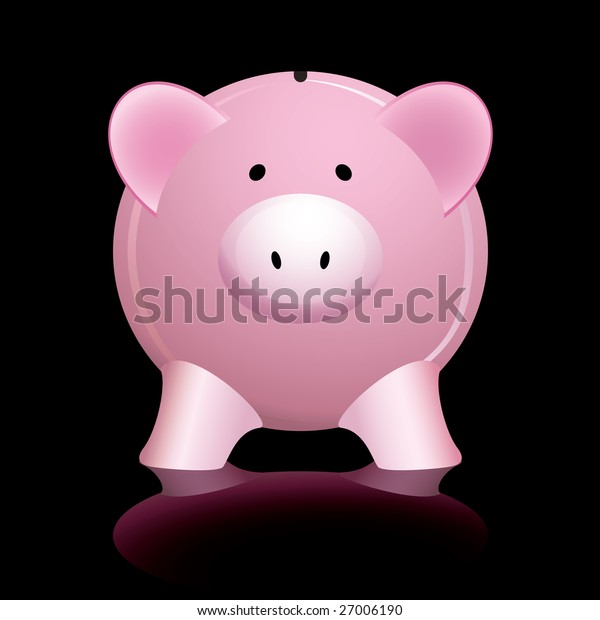 Pink piggy bank reflected on a shiny black background