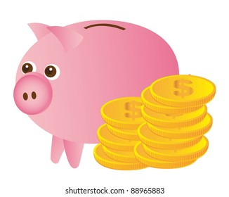 pink piggy with gold coins over white background. vector