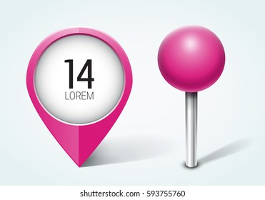 Pink pin / Map pointer / Location  icon. Concept of route, landmark, adventure, explore. Vector illustration.