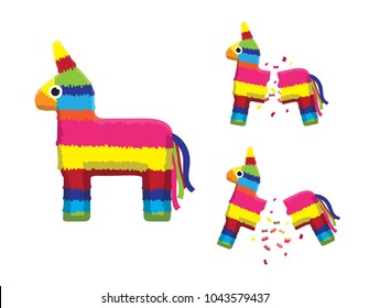 Pink Pinata Horse Breaking Animation Sequence Cartoon Vector Illustration