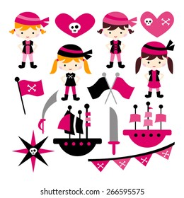 Pink pirate. Cute vector.