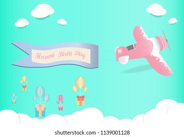 Pink plane flying take banner happy birth day and scatter gift box in the sky , origami and valentine's day concept,Paper art style, vector art and illustration.